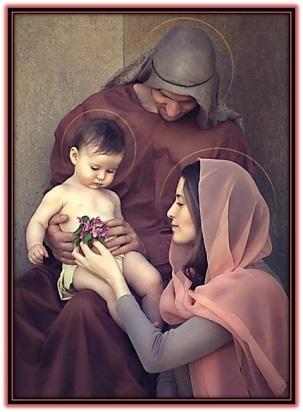 Sagrada Familia y María dándole flores al Niño