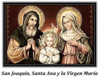 San Joaquín, Santa Ana y la Virgen María niña con una flor