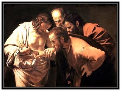 Santo Tomás poniendo el dedo el llaga de Jesús