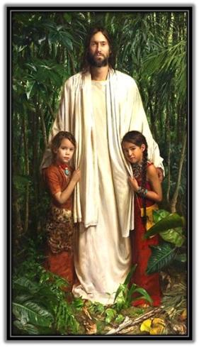 Jesús abraza a dos niños