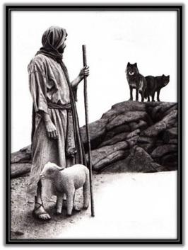 Jesús con la oveja la proteje de los lobos