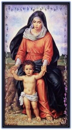 María enseñando andar al Niño Jesús