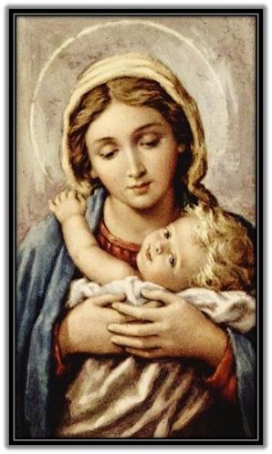 María - Niño Jesús abrazado mirando