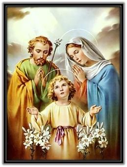 Sagrada Familia - Niño Jesús con flores