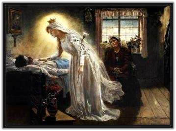 Virgen María visitando moribundo