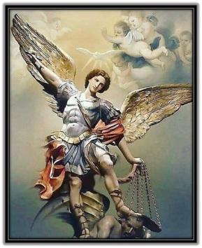 Arcángel San Miguel luchando contra el demonio
