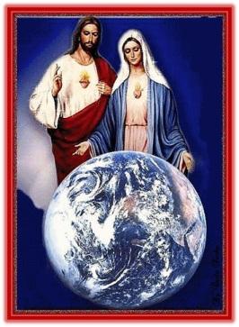 Corazones de Jesús y de María mirando el mundo