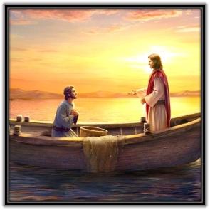 Jesús en la barca con Pedro
