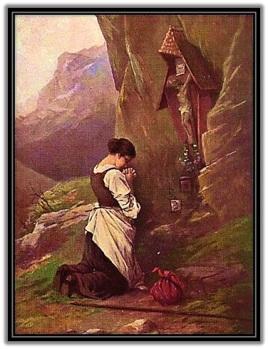 Mujer rezando al Crucifijo