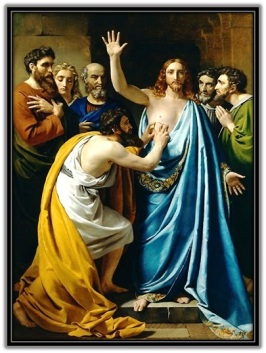 Santo Tomás Apóstol con los dedos en la herida del costado de Jesús