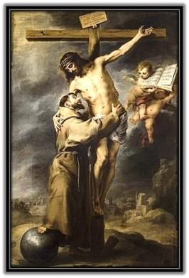 Jesús desde la Cruz abraza a San Francisco de Asís