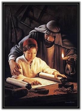 San José y Jesús leiendo la escrituras