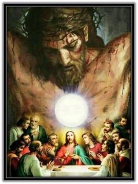 Santa Cena y Jesús Crucificado
