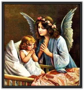 Ángel de la Guarda y niña rezando