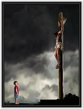 Jesús crucificado y niño