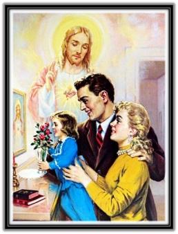 Familia ofreciendo flores hija sagrado Corazón de Jesús