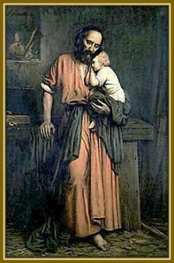 San José con el Niño abrazado