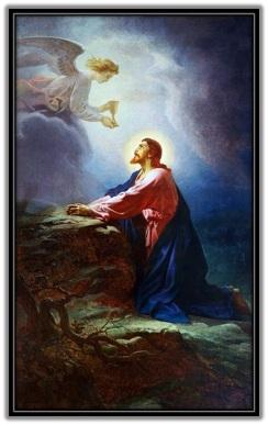 Jesús en el Huerto y el Ángel le ofrece el Cáliz que ha de beber