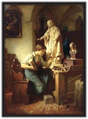 Joven trabajando imagen de la Virgen María