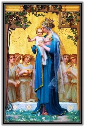 María - Niño Jesús y ángeles músicos