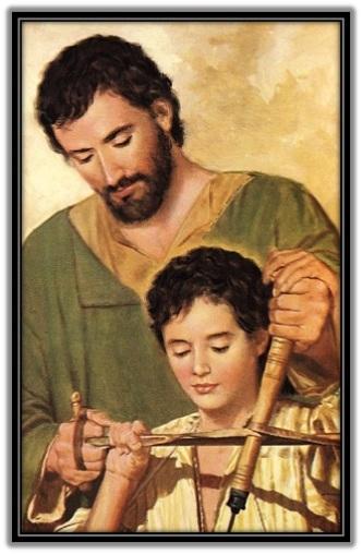 San José enseñando a Jesús de carpintero