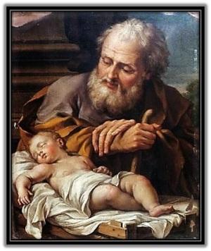 San José y Niño Jesús durmiendo