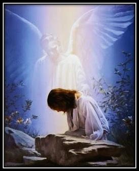Jesús orando en el huerto y ángel consolando
