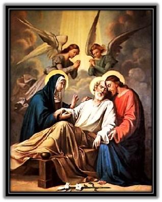Muerte de San José en compañia de Jesús y María