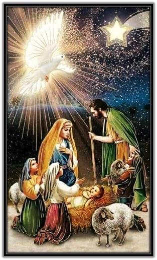 Nacimiento de Jesús y pastores