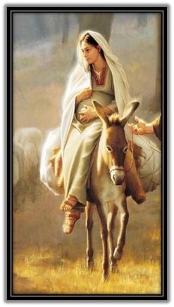 Virgen María montada en una asna
