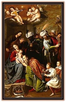 Adoración de los reyes y ángeles al Niño Jesús