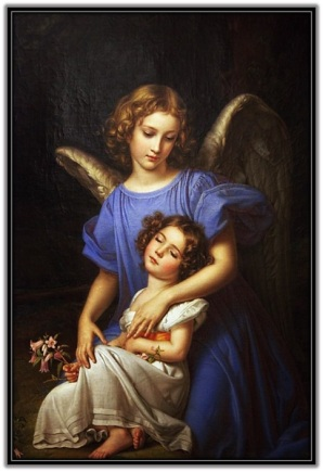 Ángel de la Guarda y niña dormiendo