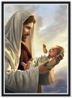 Jesucristo con niño en las manos