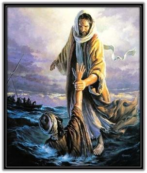 Jesucristo salvando a Pedro del mar