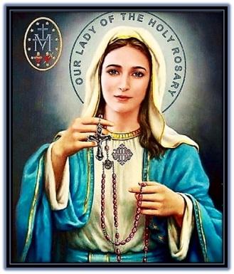 María invitando a rezar el Rosario