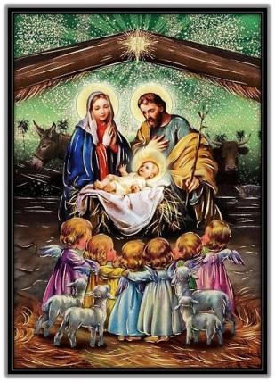 Sagrada Familia y los angelitos - Navidad