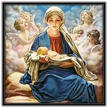 Virgen María y Jesús dormido