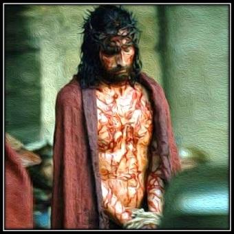 Jesús atado y con la túnica