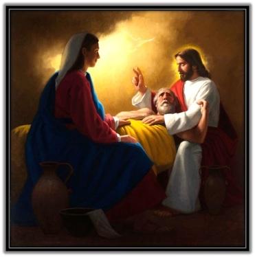 Muerte de San José y venida Espíritu Santo y presentes Jesús y María