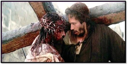 Jesús ayudado por Cirineo