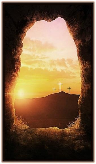 Jesús Resucitado y tres cruces
