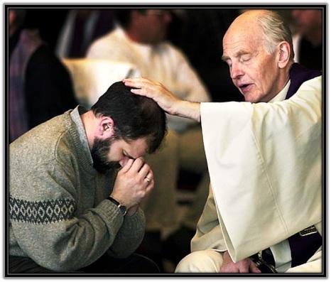 Sacerdote confesando penitente