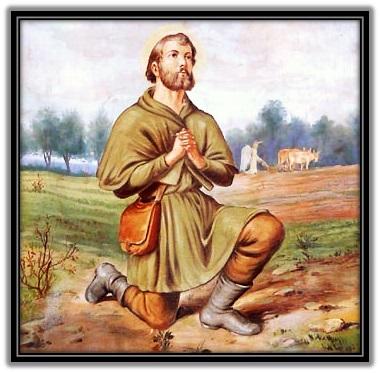 San Isidro Labrador en oración