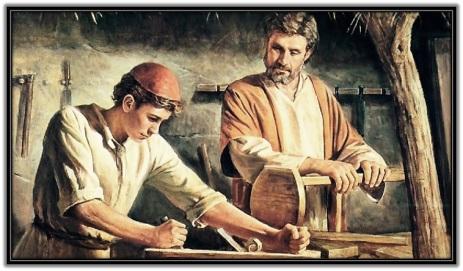 San José y Jesús trabajando en la carpinteria