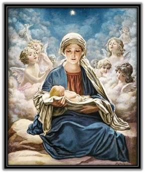 Virgen María con el Niño en brazos y los ángeles