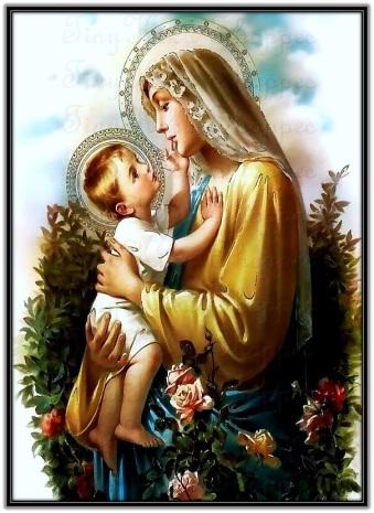 Jesús acariciando el rostro de María