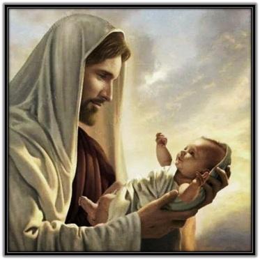 Jesús con un niño en brazos